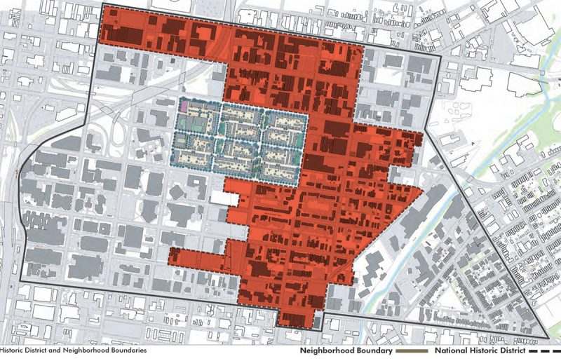 The 700 East Main site is located within the Phoenix Hill National Register Historic District, indicated in orange. (Courtesy Kentucky Archaeological Survey)
