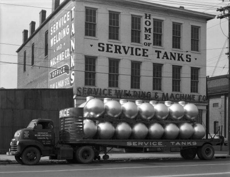 Another view of the three-story Service Tanks structure, seen here circa 1949. (Courtesy UL Photo Archives - Reference)