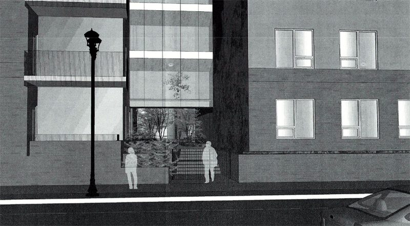 The interior courtyard is visible at the building entrance here on Fourth Street. Apartments are proposed to line the ground floor. (GBBN)