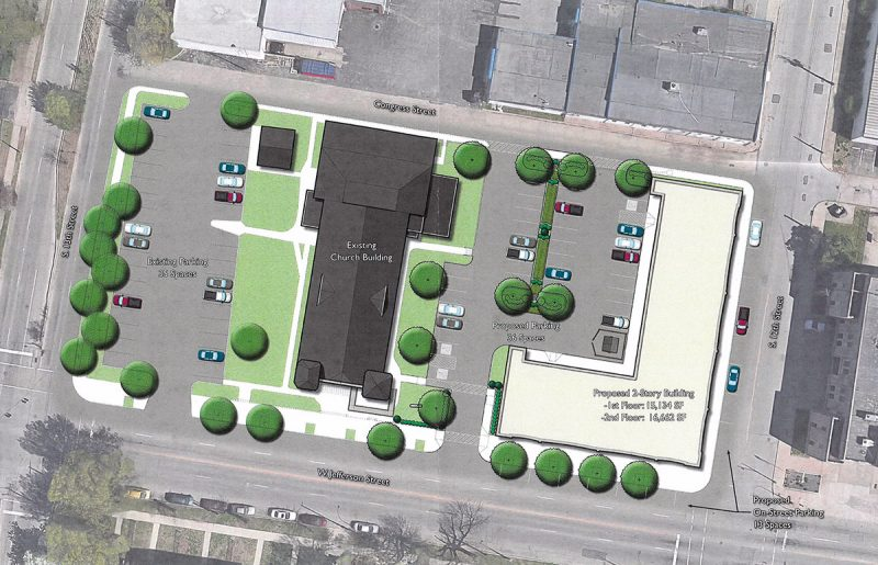 Site plan for the Village at West Jefferson. (MOLO Village / Via Metro Louisville)