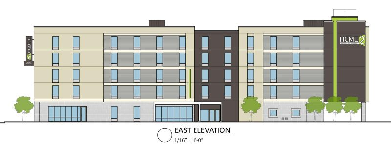 Elevation of the Home2Suites facing Hancock Street. (Courtesy City Properties Group)