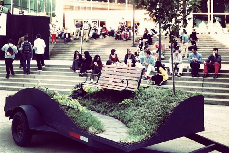 A temporary parklet commissioned by the 21c Museum Hotel on display at IdeaFestival in 2012. (Louis Huber-Calvo / Instagram)