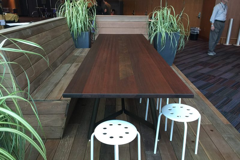A large table forms the centerpiece of The Community Table parklet. (Courtesy Nomi Design)
