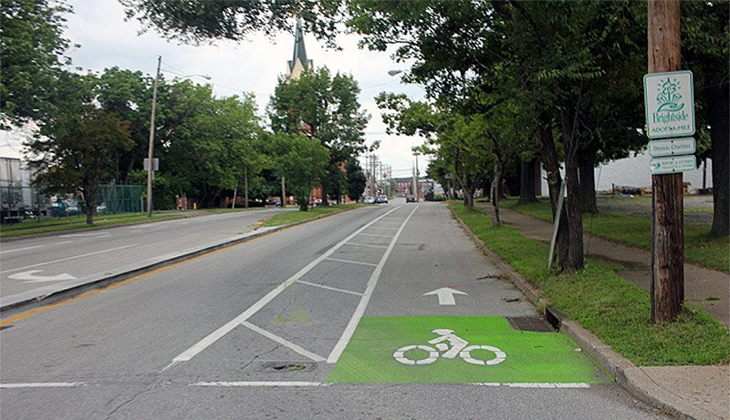 A protected bike lane in the Russell neighborhood. (Courtesy Bicycling for Louisville)
