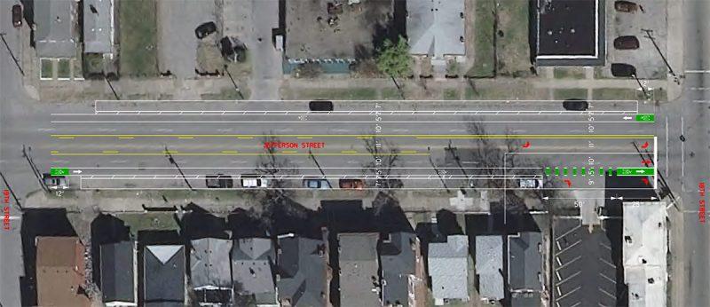 Bike lanes planned on West Jefferson Street in Russell. (Courtesy Metro Louisville)
