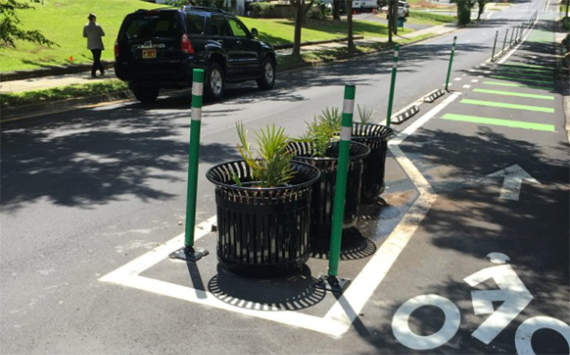 The best bike lane separation is often several different kinds at once. (Courtesy City of Tallahassee)