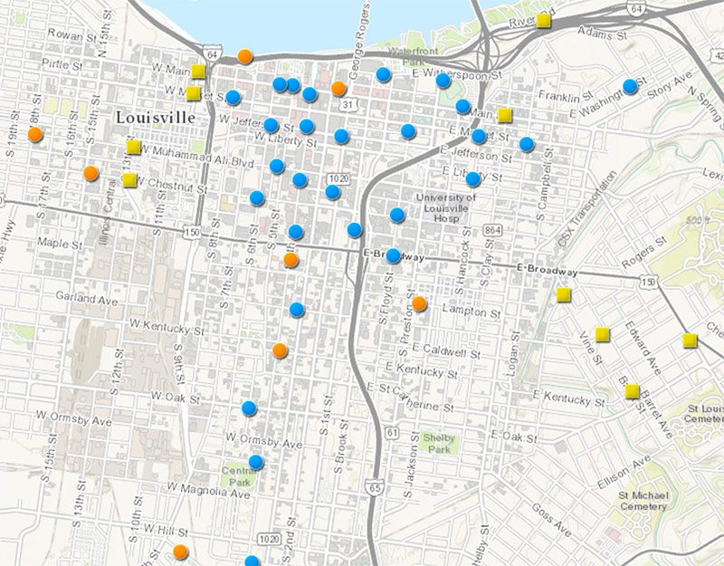 Map showing planned bike share systems. (Courtesy Bike Louisville)