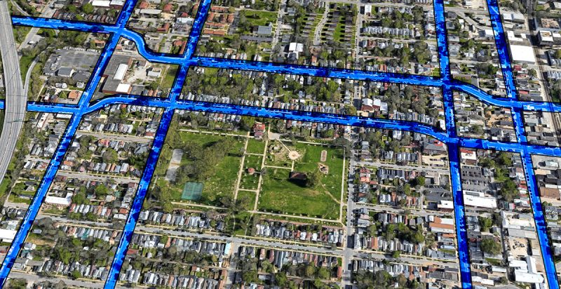 Map showing three street couplets to be discussed at the meeting. (Courtesy Google; Montage by Broken Sidewalk)