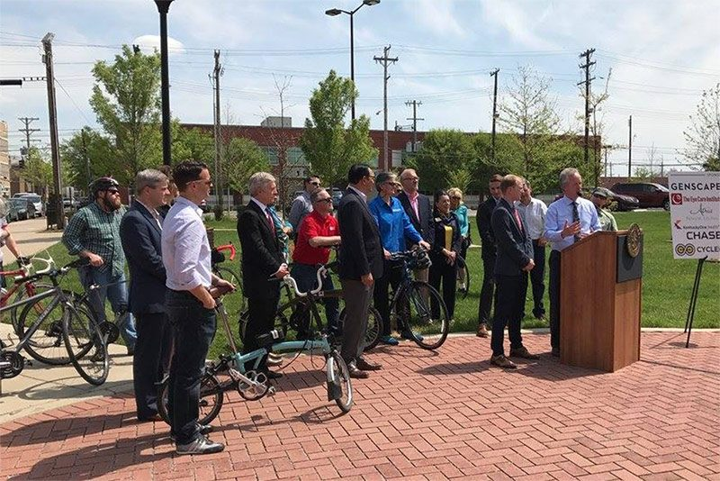 Mayor Greg Fischer speaks at the LouVelo announcement. (Courtesy Metro Louisville)