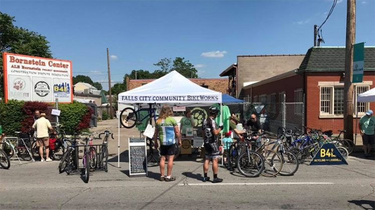 A booth by Falls City Community Bikeworks, which is located on Logan. (Courtesy Louisville Forward)