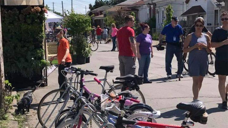 Plenty of bike parking, people, and good conversation. (Courtesy Louisville Forward)