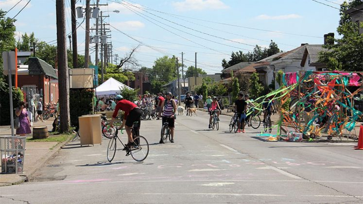 A colorful parklet and lots of bikes at CycLOUvia and Better Block. (Courtesy Shelby Park Neighborhood Association)