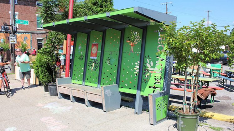 Shelby Park's bus stop, dedicated last year at CycLOUvia, looks even better surrounded by plants. (Courtesy Shelby Park Neighborhood Association)